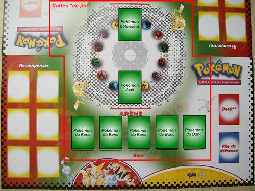 Table de jeu illustru00e9e, avec les cartes en jeu